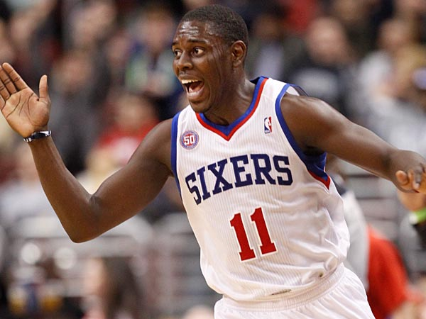 Sixers Jrue Holiday celebrates after hitting the last shot of the<br />third quarter. Houston Rockets vs Philadelphia Sixers at the Wells<br />Fargo Center on Saturday, January 12, 2013.  ( Ron Cortes / Staff<br />Photographer )