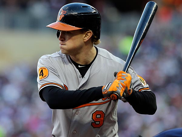 Baltimore Orioles´ Nate McLouth bats in the fourth inning of a baseball game against the Minnesota Twins, Saturday, May 11, 2013 in Minneapolis. (AP Photo/Jim Mone)