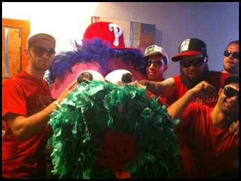 Update, Saturday, 5:30 p.m.: The crew parties with the Phanatic head.
