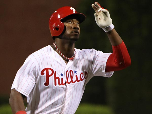 Phillies&acute; Domonic Brown celebrates as he round third base after his<br />solo homer against theBrewers during the 6th inning at Citizens Bank<br />Park in Philadelphia, Friday, May 31, 2013. Brewers beat the Phillies<br />8-5.  (  Steven M. Falk / Staff Photographer )
