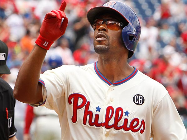 Phillies Jimmy Rollins reacts after his first inning HR.  Philadelphia<br />Phillies vs Cincinnati Reds on Sunday, May 18, 2014 at Citizens Bank<br />Park.  ( RON CORTES / Staff Photographer ).