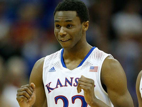 Kansas guard Andrew Wiggins (22) during the second half of an NCAA college basketball game against Oklahoma State in the quarterfinals of the Big 12 Conference men´s tournament in Kansas City, Mo., Thursday, March 13, 2014. Kansas defeated Oklahoma State 77-70 in overtime. (AP Photo/Orlin Wagner)