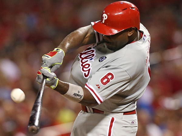 Ryan Howard hits a two-run home run during the Phillies recent series at Busch Stadium in St. Louis. (AP Photo/St. Louis Post-Dispatch, Chris Lee)