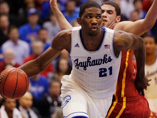 Kansas center Joel Embiid was drafted by the 76ers with the third-overall pick. (Orlin Wagner/AP file photo)