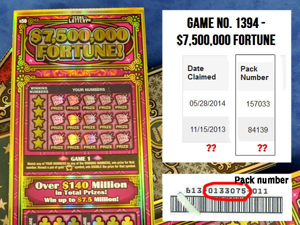 If missing $7.5 million ticket was from early part of $7,500,000 Fortune, it could be in one of only a few hundred packs still in store. Texas Lottery website shows  the pack numbers for two of the three top prizes in the $50 scratch-off game. Sample pack number is from Holiday Millionaire ticket that won Joan Ginther $2 million in 2006.