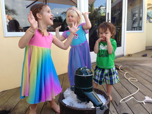 """The girls and Tommy doing the """"magic ice cream dance."""""""
