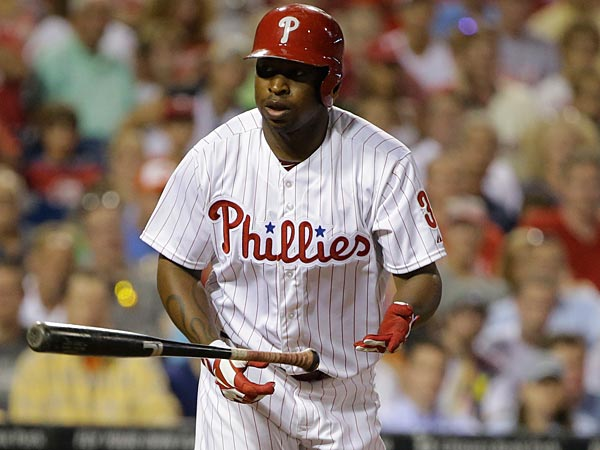 Philadelphia Phillies´ Delmon Young in action during a baseball game against the Washington Nationals, Tuesday, July 9, 2013, in Philadelphia. (AP Photo/Matt Slocum)
