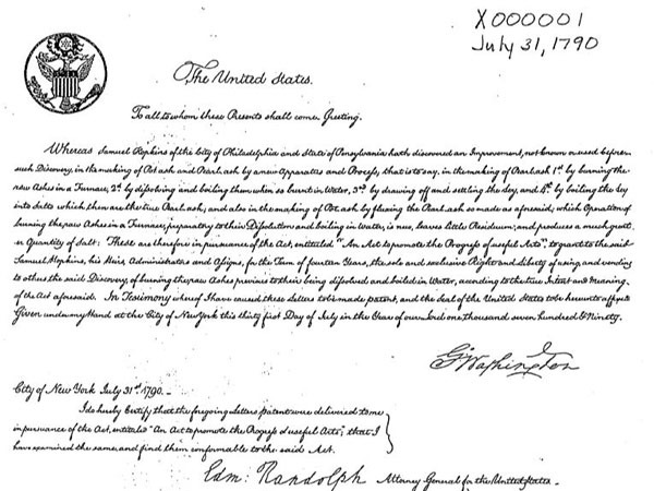Samuel Hopkins´ patent, the first one ever granted in the United States (1790), was signed by President George Washington. (Wikimedia Commons)