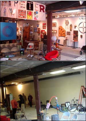 Two photos a month apart show the transformation of the space at 734 South Street to funky gallery (top) from empty storefront.