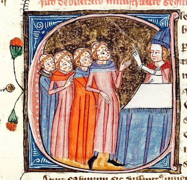 Plague victims being blessed by a priest, shown with symptoms. From a late 14th-century manuscript, Omne Bonum, by James le Palmer.