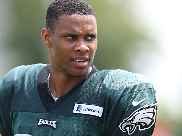 Jordan Matthews walks off the field after Eagles practice at the NovaCare Complex. (David Maialetti/Staff Photographer)