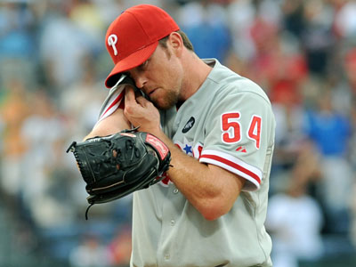 This season, Brad Lidge is 0-6 with a 7.33 ERA and a league leading nine blown saves.     (AP Photo/Gregory Smith)