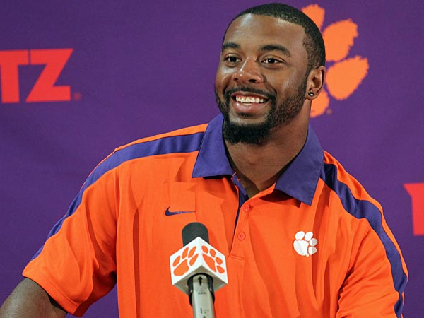 Clemson NCAA college football quarterback Tajh Boyd discusses the<br />Tigers&acute; season opening game against Georgia at a news conference in<br />Clemson, S.C., Tuesday, Aug. 27, 2013. (AP Photo/Anderson<br />Independent-Mail, Mark Crammer) GREENVILLE NEWS OUT, SENECA NEWS OUT