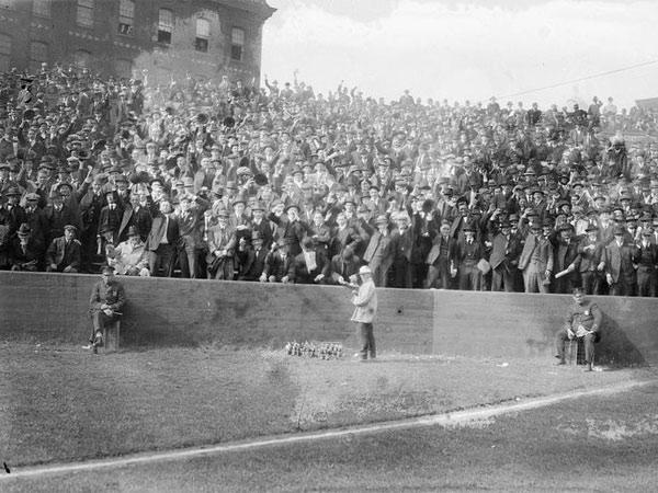 The bleachers of the Baker Bowl in 1915. (Wikimedia Commons)