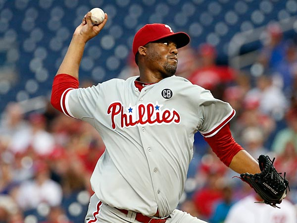 Philadelphia Phillies starting pitcher Roberto Hernandez throws during<br />the second inning of a baseball game against the Washington Nationals<br />at Nationals Park, Friday, Aug. 1, 2014, in Washington. (AP Photo/Alex<br />Brandon)