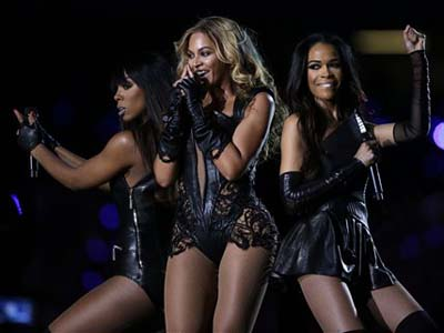Beyonce performs during the halftime show of  the NFL Super Bowl XLVII football game between the San Francisco 49ers and the Baltimore Ravens Sunday, Feb. 3, 2013, in New Orleans. (AP Photo/Mark Humphrey)