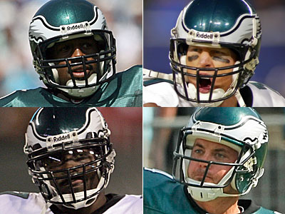 The current Eagles quarterbacks on the 2009 roster: Donovan McNabb, Jeff Garcia, Michael Vick, Kevin Kolb.     (File Photos)