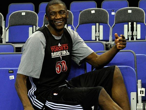Toronto Raptors Solomon Alabi (AP Photo/Tom Hevezi).
