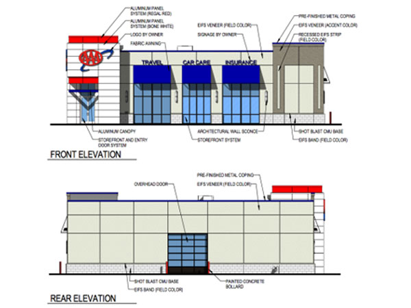 A rendering of AAA MidAtlantic´s proposed auto service/retail store at 1601 S. Columbus Blvd.