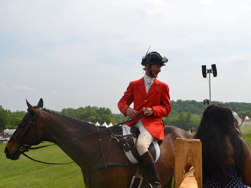 Outrider Charlie Fleishman on &quot;Carney&quot; at the 85th Radnor Hunt Races at the Radnor Hunt Club on Saturday, May 16, 2015.<br /> ( For the Inquirer / Maggie Henry Corcoran )
