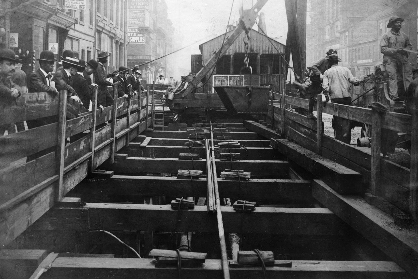 A view of the subway construction on Market Street between 17th and 18th Streets in the summer of 1904.