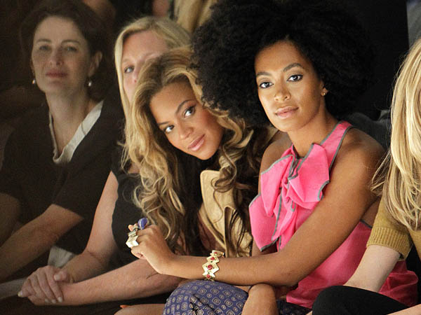 Singers Beyonce Knowles and Solange Knowles (sisters) attends the Vera Wang 2012 Spring collection during Mercedes Benz Fashion Week at Lincoln Center on Tuesday, September 13, 2011. (AP Photo/Donald Traill)