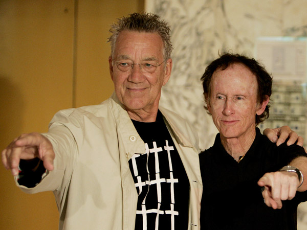 Members of the rock-band The Doors Ray Manzarek, left, and Robby Krieger pose for photographers during a press conference in Mexico City, in this Tuesday, Oct. 2, 2007 file photo.