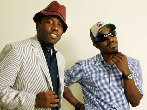 "Musicians Andre Benjamin, right, and Big Boi, of the musical group Outkast, pose for a photograph on Friday, Aug. 11, 2006, in Los Angeles. The two star in the new film ""Idlewild."" (AP Photo/Damian Dovarganes)"