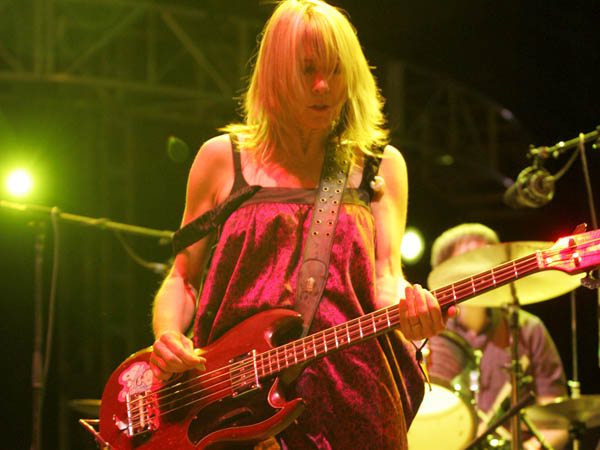 Kim Gordon performs with her band Sonic Youth at the Coachella Valley Music & Arts Festival on Friday, April 27, 2007. (AP Photo/Branimir Kvartuc)