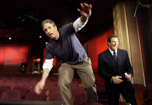 Comedy Central news kidder Jon Stewart (left), was among the write-ins on Burlco ballots  (AP Photo)