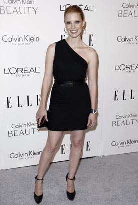 Honoree actress Jessica Chastain arrives at a ELLE magazine´s 17th Annual Women in Hollywood Tribute in Beverly Hills, Calif.,  Monday, Oct. 18, 2010. (AP Photo/Matt Sayles)