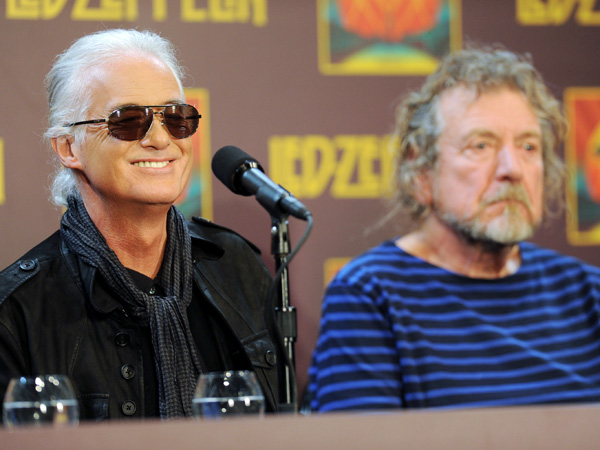 Led Zeppelin guitarist Jimmy Page, left and singer Robert Plant. (Photo by Evan Agostini/Invision/AP)
