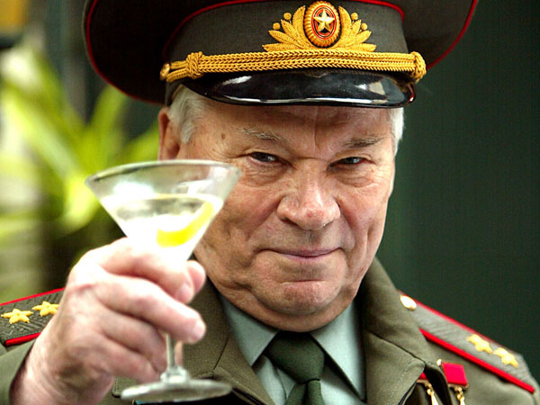 Russia´s Lt. Gen. Mikhail Kalashnikov, famous for his AK-47 gun design, raises a toast in London, Monday Sept. 20, 2004, to launch his Kalashnikov Vodka drink. (AP Photo/John D McHugh)