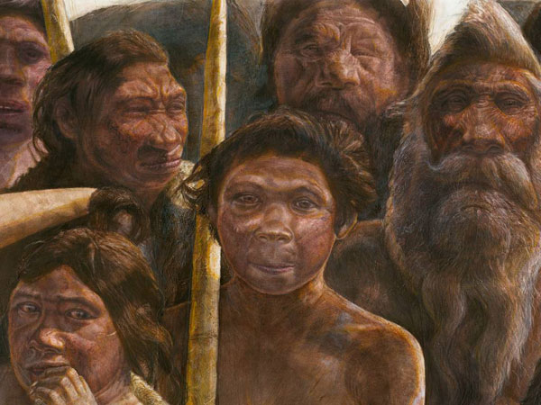 This artist´s rendering provided by Madrid Scientific Films in December 2013 shows Sima de los Huesos hominins who are estimated to have lived approximately 400,000 years ago during the Middle Pleistocene. Scientists have reached farther back than ever into the ancestry of humans to recover and analyze DNA, with a sample from a bone from a site in Sima de los Huesos, Spain. So far, the achievement has provided more questions than answers about the human family tree. Results were presented online Wednesday, Dec. 4, 2013 in the journal Nature by Matthias Meyer and colleagues at the Max Planck Institute for Evolutionary Anthropology in Leipzig, Germany, with co-authors in Spain and China. (AP Photo/Madrid Scientific Films, Kennis & Kennis)