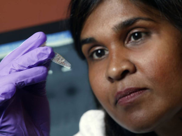 FILE - In this undated file image provided by Johns Hopkins Medicine in 2005 Dr. Deborah Persaud, a pediatric HIV expert at Johns Hopkins´ Children´s Center in Baltimore, holds a vial. On Thursday, July 10, 2014, doctors and officials at the National Institutes of Health said new tests last week showed that a Mississippi girl born with the AIDS virus is no longer in remission. The girl is now back on treatment and is responding well, doctors said. (AP Photo/Johns Hopkins Medicine, File)