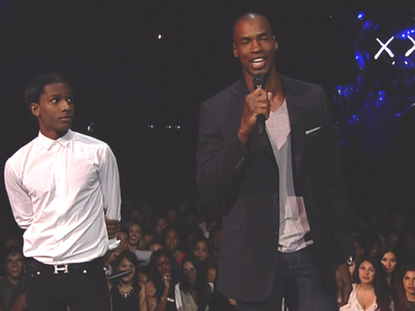 A$AP Rocky and Jason Collin present at the 2013 MTV VMAs.