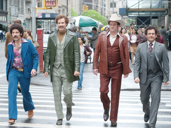 "Brian Fantana, Ron Burgundy, Champ Kind and Brick Tamland strut their stuff in ""Anchorman 2."""