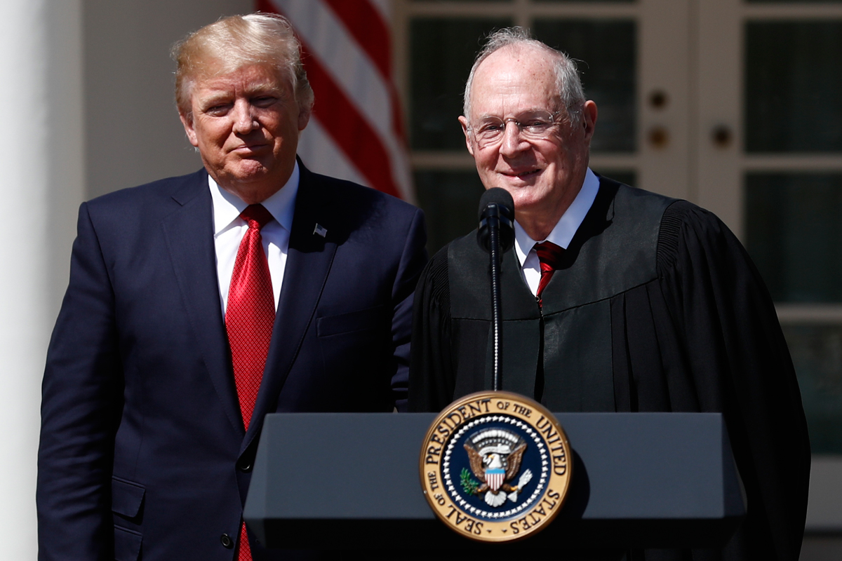 President Donald Trump (left) and Supreme Court Justice Anthony Kennedy at the White House in April. Rumors continue to swirl that the 81-year-old Kennedy is considering retiring from the court.<br /><br />