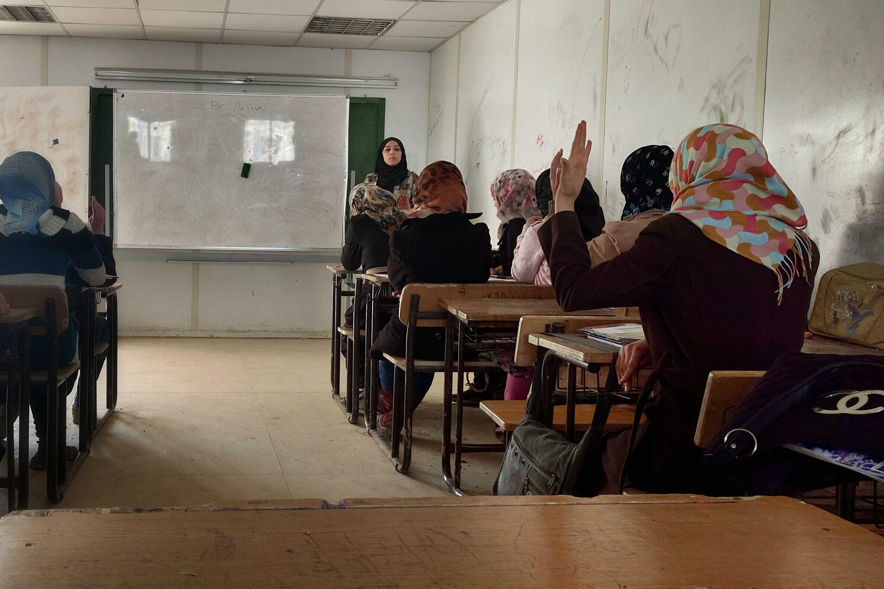 A 10th-grade class at the Zaatari refugee camp in Jordan.