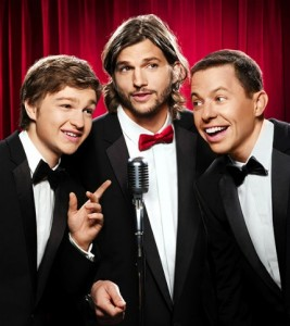 Ashton Kutcher and his new castmates, Jon Cryer and Angus T. Jones.