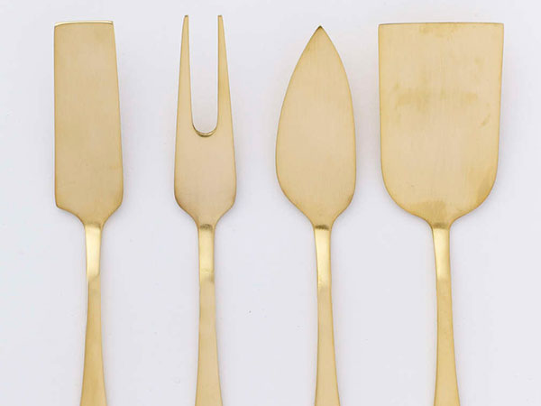 Gold cheese knives from West Elm.