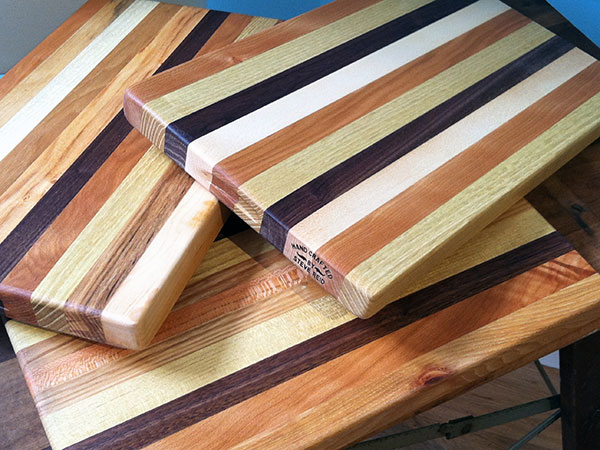 Woodworker Steve Reid hand-makes his cutting boards from locally sourced wood.