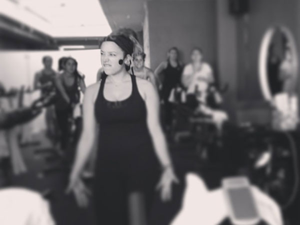 Shoshana Katz during one of her Body Cycle Studio spin classes.