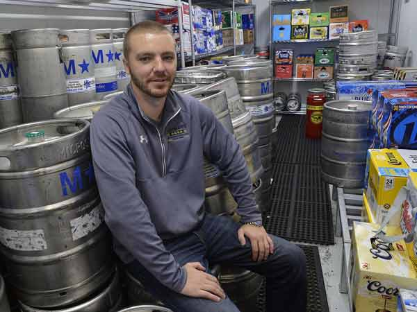 Shane Lohman, who started Lohman's Beer in Pittsburgh´s Franklin Park three years ago, in the cooler on August 13, 2014. (Larry Roberts/Pittsburgh Post-Gazette/MCT)