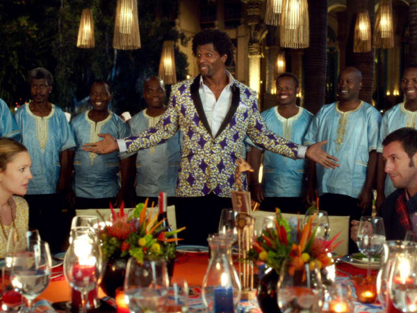 "Drew Barrymore as Lauren, Terry Crews as Nickens with backup singers Thathoo played by Junior Mambazo and Adam Sandler as Jim in Warner Bros. Pictures´ romantic comedy ""Blended,"" a Warner Bros. Pictures release."