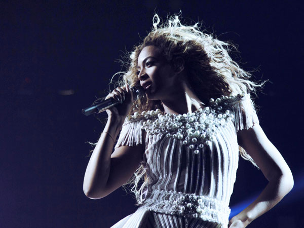 "Singer Beyonce performs on her ""Mrs. Carter Show World Tour 2013"", on Sunday, July 21, 2013 at the Air Canada Centre in Toronto, Canada. (Photo by Robin Harper/Invision for Parkwood Entertainment/AP Images)"