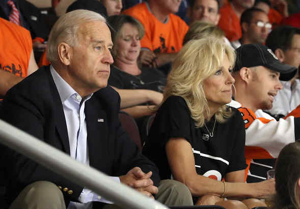 Vice President Joe Biden and wife Dr. Jill Biden watch Game 4 of the Stanley Cup Finals   ( Steven M. Falk / Staff Photographer )