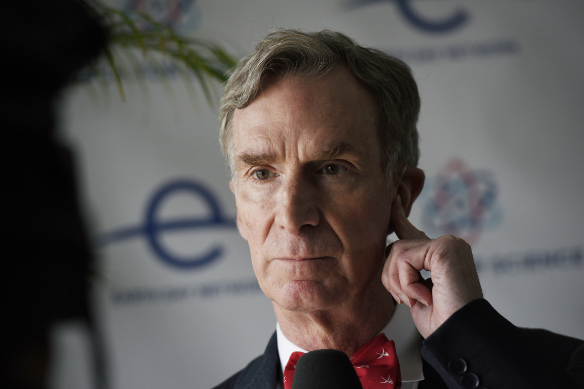 "Bill Nye ""The Science Guy"" prepares for an interview at the March for Science event in Washington, Saturday, April 22, 2017."