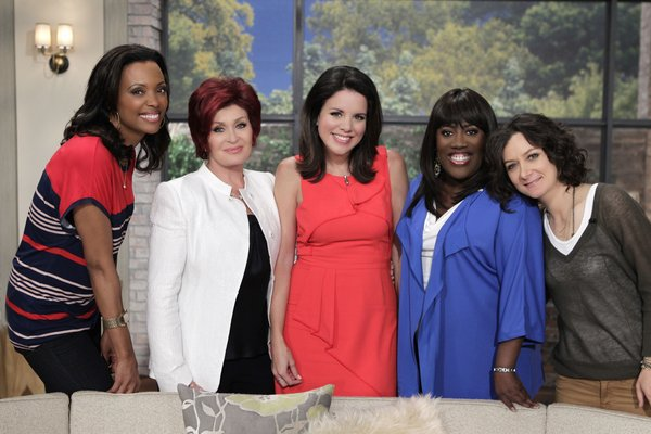 "CBS 3 meteorologist Kate Bilo (center) with, from left, Aisha Tyler, Sharon Osbourne, Sheryl Underwood and Sara Gilbert, hosts of CBS´ ""The Talk"""