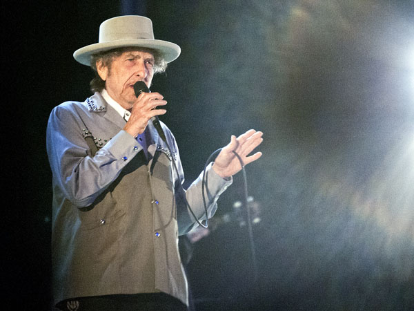 Bob Dylan performs at Bayfront Festival Park in Duluth, Minn. Tuesday July 9, 2013 during a stop on the Americanarama Festival of Music. (AP Photo/Duluth News, Clint Austin)